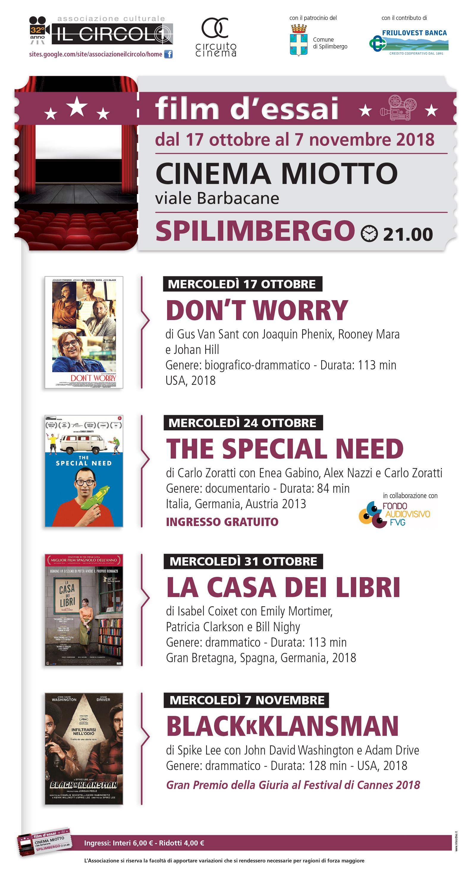Locandina cinema sett-ott 2018