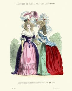 Vintage engraving of Womens costumes of the late 18th Century